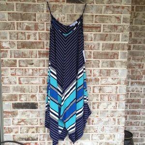 Emma Michele Striped Flowy Navy & Mint Maxi Dress